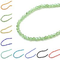 Doppelkegel Kristallperlen, Kristall, AB Farben plattiert, facettierte, mehrere Farben vorhanden, 4x4mm, Bohrung:ca. 1mm, Länge:ca. 17.5 ZollInch, 10SträngeStrang/Tasche, 118PCs/Strang, verkauft von Tasche
