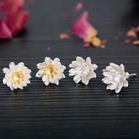 Messing Ohrstecker, mit Kunststoff Ohrmutter, Blume, versilbert, keine, 12x12mm, verkauft von Paar