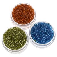 Silbereinzug Glas Rocailles, Glas-Rocailles, rund, keine, 2x1.9mm, Bohrung:ca. 1mm, ca. 3000PCs/Tasche, verkauft von Tasche