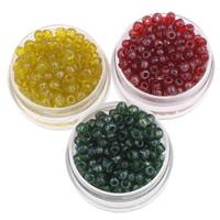 Glänzende Glas-Rocailles, rund, Schimmer, keine, 3x3.6mm, Bohrung:ca. 1.5mm, ca. 550PCs/Tasche, verkauft von Tasche