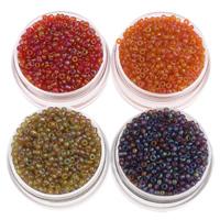 Regenbogen Glas-Rocailles, rund, keine, 2x1.9mm, Bohrung:ca. 1mm, ca. 3000PCs/Tasche, verkauft von Tasche