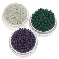Volltonfarbe Glas Rocailles, Glas-Rocailles, rund, keine, 2x3mm, Bohrung:ca. 1mm, ca. 15000PCs/Tasche, verkauft von Tasche