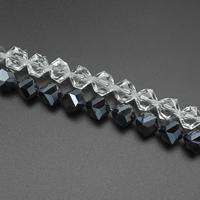 Kubische Kristallperlen, Kristall, kubistisch, facettierte, mehrere Farben vorhanden, 15x11mm, Bohrung:ca. 1.5mm, ca. 59PCs/Strang, verkauft per ca. 29 ZollInch Strang