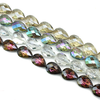 Tropfen Kristallperlen, Kristall, bunte Farbe plattiert, facettierte, mehrere Farben vorhanden, 17x24x11mm, Bohrung:ca. 1mm, ca. 25PCs/Strang, verkauft per ca. 23.5 ZollInch Strang