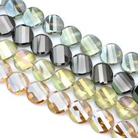 Torsion-Kristall-Perlen, Kristall, Twist, bunte Farbe plattiert, facettierte, mehrere Farben vorhanden, 22x9mm, Bohrung:ca. 1mm, ca. 25PCs/Strang, verkauft per ca. 22 ZollInch Strang
