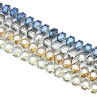 Sechskant Kristallperlen, Kristall, Sechseck, bunte Farbe plattiert, facettierte, mehrere Farben vorhanden, 15x12x10mm, Bohrung:ca. 1mm, ca. 50PCs/Strang, verkauft per ca. 23.5 ZollInch Strang