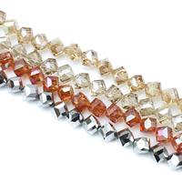 Kubische Kristallperlen, Kristall, kubistisch, bunte Farbe plattiert, facettierte, mehrere Farben vorhanden, 10x8mm, Bohrung:ca. 1.5mm, ca. 100PCs/Strang, verkauft per ca. 33.8 ZollInch Strang
