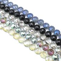 Flache runde Kristall Perlen, bunte Farbe plattiert, facettierte, mehrere Farben vorhanden, 14x10mm, Bohrung:ca. 1.5mm, ca. 50PCs/Strang, verkauft per ca. 27 ZollInch Strang