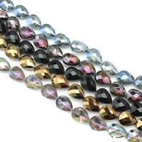 Tropfen Kristallperlen, Kristall, bunte Farbe plattiert, facettierte, mehrere Farben vorhanden, 14x18x9mm, Bohrung:ca. 1.5mm, ca. 35PCs/Strang, verkauft per ca. 23.5 ZollInch Strang
