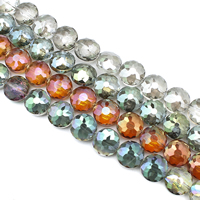 Flache runde Kristall Perlen, bunte Farbe plattiert, facettierte, mehrere Farben vorhanden, 18x10mm, Bohrung:ca. 1mm, ca. 35PCs/Strang, verkauft per ca. 24 ZollInch Strang