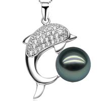 Natürliche Akoya Zuchtperlen Perlen Anhänger, Tahiti Perlen, mit Messing, Dolphin, Micro pave Zirkonia, schwarz, 26mm, Bohrung:ca. 3-7mm, verkauft von PC