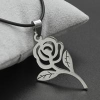 Edelstahl Schmuck Halskette, mit Gummiband, Eisen Karabinerverschluss, mit Verlängerungskettchen von 4cm, Rose, originale Farbe, 26x44x2mm, verkauft per ca. 17 ZollInch Strang