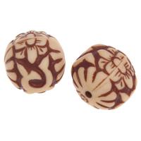 Imitation Ox Bone Acryl-Perlen, Acryl, rund, Imitation Rind Knochen, Kaffeefarbe, 16mm, Bohrung:ca. 2.5mm, 2Taschen/Menge, ca. 510PCs/Tasche, verkauft von Menge