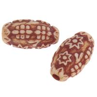 Imitation Ox Bone Acryl-Perlen, Acryl, flachoval, Imitation Rind Knochen, Kaffeefarbe, 23.50x14x12mm, Bohrung:ca. 3mm, 2Taschen/Menge, ca. 235PCs/Tasche, verkauft von Menge