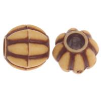 Imitation Ox Bone Acryl-Perlen, Acryl, Trommel, Imitation Rind Knochen & großes Loch, Kaffeefarbe, 10mm, Bohrung:ca. 4mm, 2Taschen/Menge, ca. 1180PCs/Tasche, verkauft von Menge