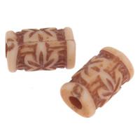 Imitation Ox Bone Acryl-Perlen, Acryl, Zylinder, Imitation Rind Knochen, Kaffeefarbe, 8x5mm, Bohrung:ca. 1mm, 2Taschen/Menge, ca. 4150PCs/Tasche, verkauft von Menge