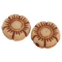 Imitation Ox Bone Acryl-Perlen, Acryl, Blume, Imitation Rind Knochen, Kaffeefarbe, 10x4mm, Bohrung:ca. 1mm, 2Taschen/Menge, ca. 1773PCs/Tasche, verkauft von Menge