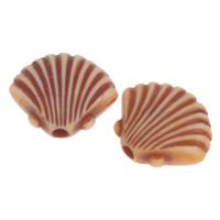 Imitation Ox Bone Acryl-Perlen, Acryl, Schale, Imitation Rind Knochen, Kaffeefarbe, 12x10x4mm, Bohrung:ca. 1mm, 2Taschen/Menge, ca. 1585PCs/Tasche, verkauft von Menge