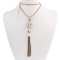 Zinklegierung Pullover Halskette, mit Eisenkette, mit Verlängerungskettchen von 6.5cm, rund, plattiert, Maschen-Kette & mit Strass, frei von Nickel, Blei & Kadmium, 12-27mm, verkauft per ca. 25.9 ZollInch Strang