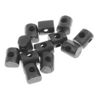 Rind-Knochen Perle, Zylinder, schwarz, 9x10x7mm, Bohrung:ca. 2.5mm, 20PCs/Tasche, verkauft von Tasche