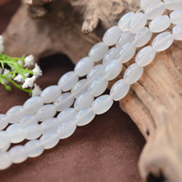 Natürliche weiße Achat Perlen, Weißer Achat, oval, 8x12mm, Bohrung:ca. 1mm, ca. 32PCs/Strang, verkauft per ca. 15.5 ZollInch Strang