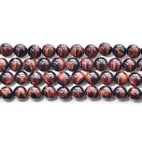 Tigerauge Perlen, rund, natürlich, verschiedene Größen vorhanden, rot, Bohrung:ca. 1mm, verkauft per ca. 15.5 ZollInch Strang