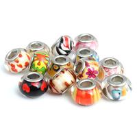 European Acrylperlen, Acryl, Rondell, Platinfarbe platiniert, verschiedene Muster für Wahl & Messing-Dual-Core ohne troll, 9x13.5mm, Bohrung:ca. 5mm, 20PCs/Tasche, verkauft von Tasche