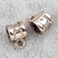 Zinklegierung Stiftöse Perlen, Rundes Rohr, vergoldet, hochwertige Beschichtung und nie verblassen, frei von Blei & Kadmium, 7x10.50x7mm, Bohrung:ca. 2mm, 20PCs/Tasche, verkauft von Tasche