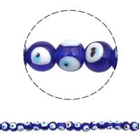Böser Blick Lampwork Perlen, rund, handgemacht, böser Blick- Muster, 10mm, Bohrung:ca. 1mm, ca. 45PCs/Strang, verkauft per ca. 17.7 ZollInch Strang