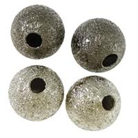 Messing Sternenstaub Perlen, rund, plattiert, Falten, keine, frei von Blei & Kadmium, 6mm, Bohrung:ca. 1mm, 3000PCs/Tasche, verkauft von Tasche