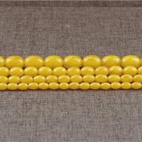 Imitierter Bernstein Harz Perlen, oval, Nachahmung Bienenwachs & verschiedene Größen vorhanden, Bohrung:ca. 1.5mm, Länge:ca. 15.5 ZollInch, verkauft von Menge