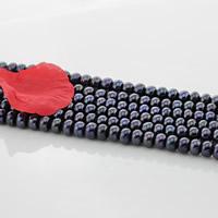 Button kultivierte Süßwasserperlen, Natürliche kultivierte Süßwasserperlen, Knopf, schwarz, 9mm, Bohrung:ca. 0.8mm, verkauft per ca. 15.5 ZollInch Strang