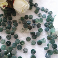 Natürliche Moos Achat Perlen, flache Runde, 6x3mm, Bohrung:ca. 1mm, 50PCs/Tasche, verkauft von Tasche