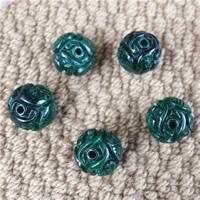 Malachit Perlen, rund, natürlich, geschnitzed & verschiedene Größen vorhanden, 2PCs/Tasche, verkauft von Tasche
