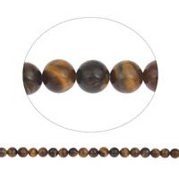 Tigerauge Perlen, rund, natürlich, verschiedene Größen vorhanden, gelb, Bohrung:ca. 1mm, verkauft per ca. 15.5 ZollInch Strang