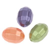 Imitation Acryl-Perlen, Acryl, oval, Nachahmung Perle & facettierte, gemischte Farben, 19x13mm, Bohrung:ca. 1mm, 2Taschen/Menge, ca. 260PCs/Tasche, verkauft von Menge
