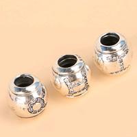 Befestiger Zirkonia Sterlingsilber Perlen, 925 Sterling Silber, Trommel, gemischtes Muster & Micro pave Zirkonia, 9.45mm, Bohrung:ca. 3.5mm, 3PCs/Menge, verkauft von Menge
