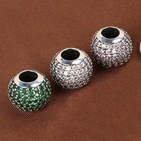 Befestiger Zirkonia Sterlingsilber Perlen, 925 Sterling Silber, Trommel, Micro pave Zirkonia, gemischte Farben, 12.3mm, Bohrung:ca. 3.5mm, 2PCs/Menge, verkauft von Menge