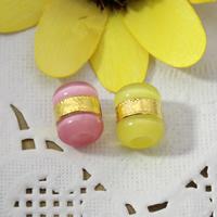 European Stil Katzenauge Perlen , Messing, mit Katzenauge, Zylinder, ohne troll, keine, 10x12x10mm, Bohrung:ca. 4.5mm, 20PCs/Menge, verkauft von Menge