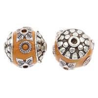 Indonesien Perlen, mit Zinklegierung, rund, antik silberfarben plattiert, 14x15mm, Bohrung:ca. 1mm, 100PCs/Tasche, verkauft von Tasche