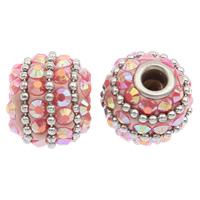 Indonesien Perlen, mit Zinklegierung, rund, silberfarben plattiert, mit Strass, 14x15mm, Bohrung:ca. 4mm, 100PCs/Tasche, verkauft von Tasche