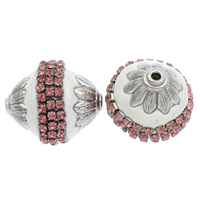 Indonesien Perlen, mit Zinklegierung, oval, silberfarben plattiert, mit Strass, 24x22mm, Bohrung:ca. 2mm, 100PCs/Tasche, verkauft von Tasche