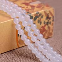 Natürliche weiße Achat Perlen, Weißer Achat, rund, verschiedene Größen vorhanden, Grade AAAAAA, Bohrung:ca. 1mm, verkauft per ca. 15.5 ZollInch Strang