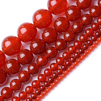 Natürlich rote Achat Perlen, Roter Achat, rund, verschiedene Größen vorhanden, Grade AAAAAA, Bohrung:ca. 1mm, verkauft per ca. 15.5 ZollInch Strang
