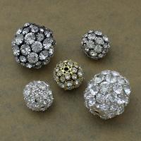Strass Messing Perlen, rund, plattiert, verschiedene Größen vorhanden & mit Strass, keine, frei von Nickel, Blei & Kadmium, verkauft von Menge