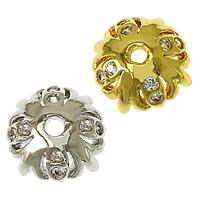 Messing Perlenkappe, Blume, plattiert, Micro pave Zirkonia, keine, frei von Nickel, Blei & Kadmium, 8.50x8.50x3mm, Bohrung:ca. 1.8mm, 50PCs/Menge, verkauft von Menge