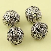 Messing hohle Perlen, rund, antik silberfarben plattiert, frei von Blei & Kadmium, 10mm, Bohrung:ca. 1mm, 10PCs/Tasche, verkauft von Tasche