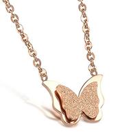 Edelstahl Schmuck Halskette, Schmetterling, Rósegold-Farbe plattiert, Oval-Kette & Falten, 11x15mm, verkauft per ca. 17.8 ZollInch Strang