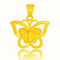 24 k-Gold überzogene hängende Farbe, Messing, Schmetterling, 24 K vergoldet, Vakuum Protektor Farbe, 20x16mm, Bohrung:ca. 3x5mm, 10PCs/Menge, verkauft von Menge