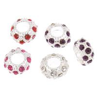 Zink Legierung Europa Perlen, Zinklegierung, Rad, Platinfarbe platiniert, ohne troll & mit Strass, keine, frei von Blei & Kadmium, 5x11mm, Bohrung:ca. 5mm, verkauft von PC